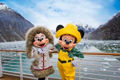 With Mickey Mouse and Minnie Mouse onboard, the Disney Wonder cruise ship sails past glaciers in Tracy Arm Fjord as part of its Alaska itinerary. Nestled between 3,000-foot high granite walls, the narrow, twisting Tracy Arm Fjord weaves through the Tongass National Forest for roughly 35 miles. (Matt Stroshane, photographer)